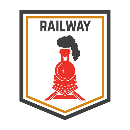 Emblem template with retro train, Rail road, Locomotive design element for label, emblem, sign.