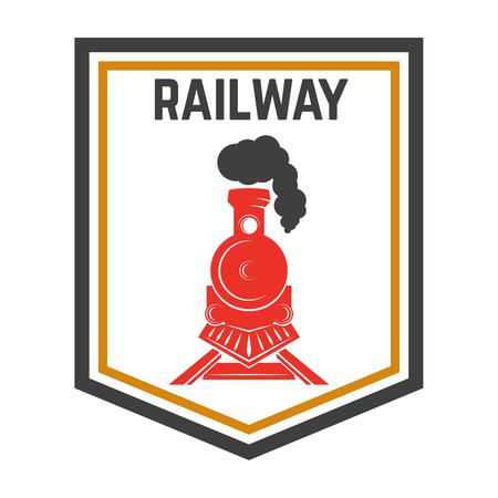 Modèle d'emblème avec train rétro, chemin de fer, élément de conception de locomotive pour étiquette, emblème, signe.