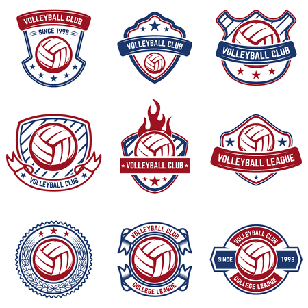 Volleyball emblems on white background. Design element for logo, label, emblem, sign, badge. Vector illustration