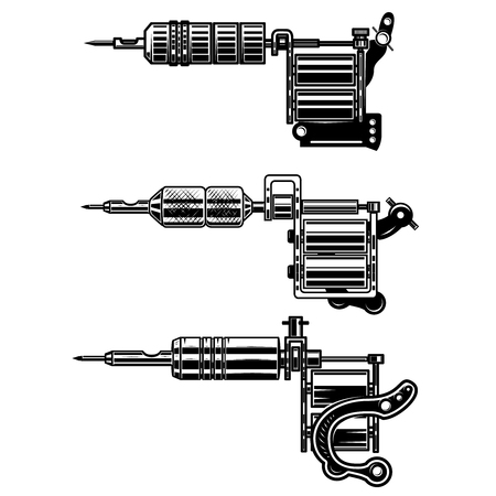 Set of tattoo machines isolated on  white background. Design element for poster, emblem, sign, badge. Vector illustration