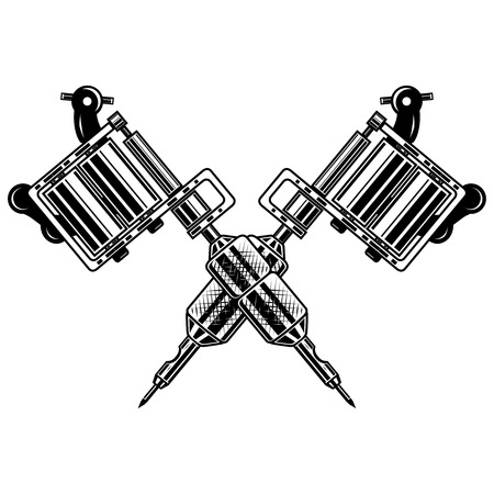 Crossed tattoo machines isolated on  white background. Design element for poster, emblem, sign, badge. Vector illustration