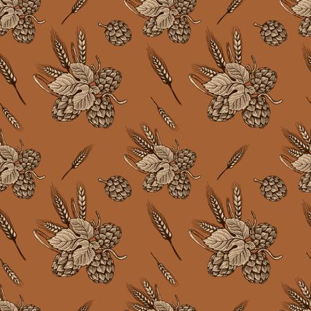 Seamless pattern with hand drawn beer hop. Design element for poster, card, banner, flyer. Vector illustration Standard-Bild - 96851173