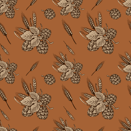 Seamless pattern with hand drawn beer hop. Design element for poster, card, banner, flyer. Vector illustration