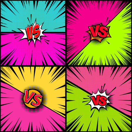 Set of empty comic book style background. Versus illustration. Design element for banner, poster, flyer. Vector image