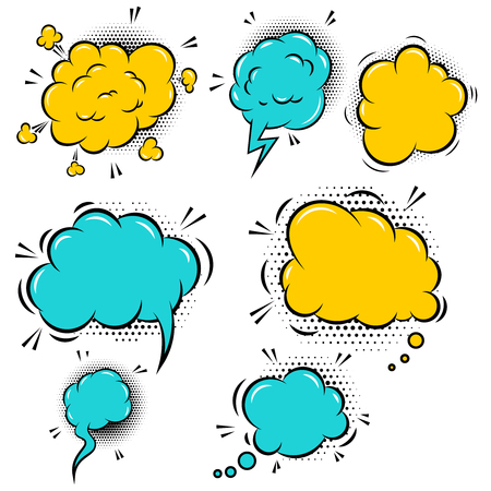 Set of empty colorful comic style speech bubbles. Design element for poster, flyer, card, banner. Vector illustration Иллюстрация