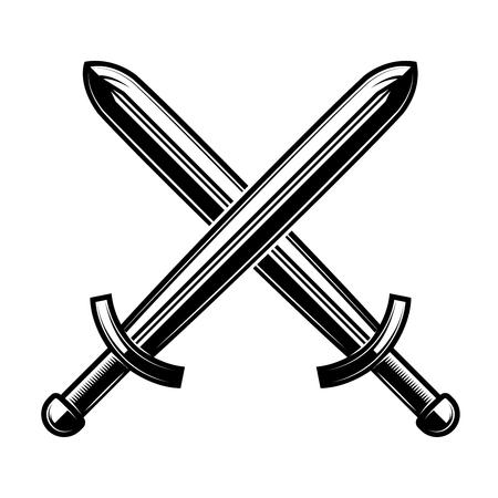 Crossed swords isolated on white background. Design element for logo, label, emblem, sign. Vector illustration