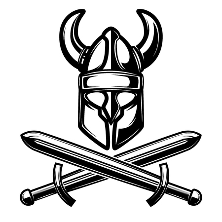 helmet with crossed swords isolated on white background. Vector illustration. Illustration