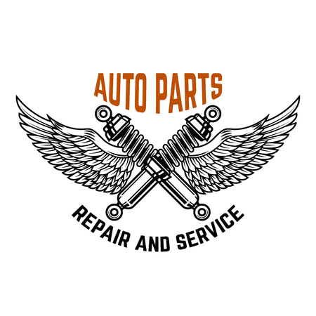 Auto service. Service station. Car repair. Design element for logo, label, emblem, sign. Vector illustration