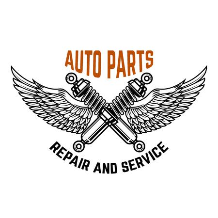 Auto service. Service station. Car repair. Design element for logo, label, emblem, sign. Vector illustration