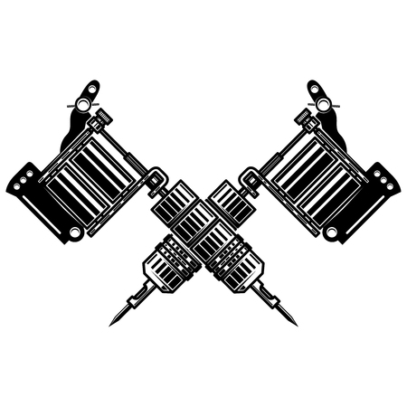 Crossed tattoo machines isolated on white background. Design element for poster, emblem, sign, badge. Vector illustration Vectores