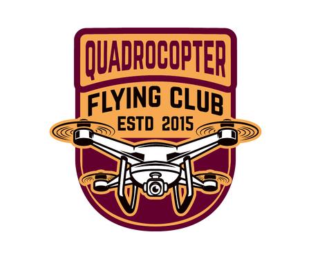 Flying club. Emblem template with quadrocopter. Design element for logo, label, emblem, sign. Vector illustration Vectores