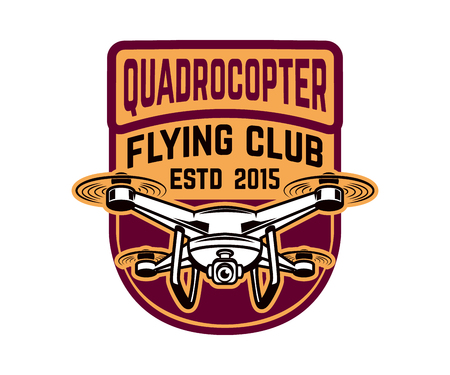 Flying club. Emblem template with quadrocopter. Design element for logo, label, emblem, sign. Vector illustration Ilustracja