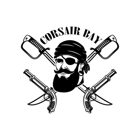 pirates, Emblem template with swords and pirate head. Design element for logo, label, emblem, sign. Vector illustration