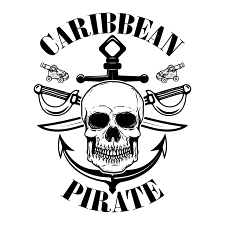 pirates, Emblem template with swords and pirate skull. Design element for logo, label, emblem, sign. Vector illustration