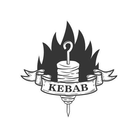 Kebab  Design element for logo, label, emblem, sign. Vector illustration
