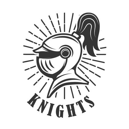Knights  Emblem template with medieval knight helmet. Design element for logo, label, emblem, sign. Vector illustration