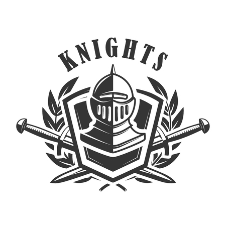 Knights Emblem Template With Medieval Knight Helmet. Design ...