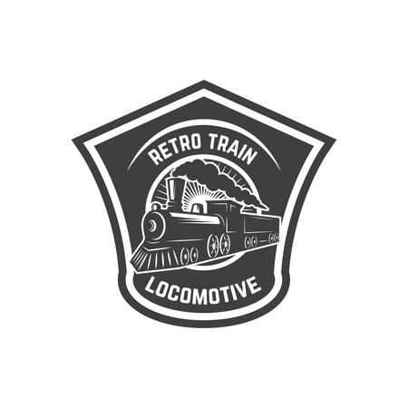 Modello di emblema con treno retrò. Ferrovia. Locomotiva. Elemento di design per logo, etichetta, emblema, segno. Illustrazione vettoriale
