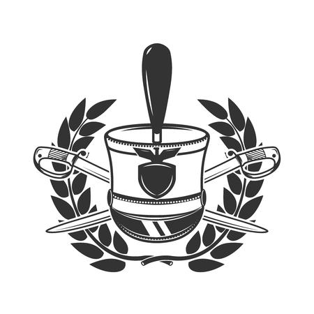 Hussars Headpiece with crossed sabers and laurel wreath. Design element for logo, label, emblem, sign, badge. Vector illustration
