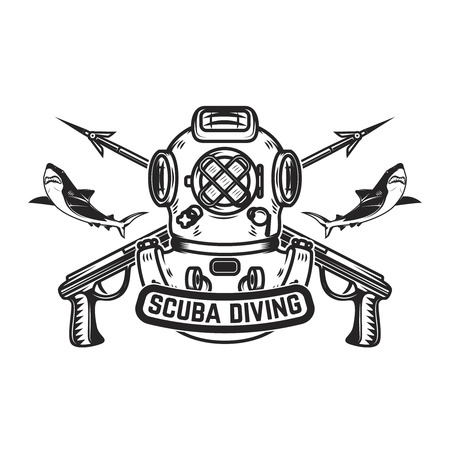 Scuba diving. Emblem template with old style diver helmet and underwater guns. Design element for logo, label, emblem, sign, badge. Vector illustration Stok Fotoğraf - 97057180