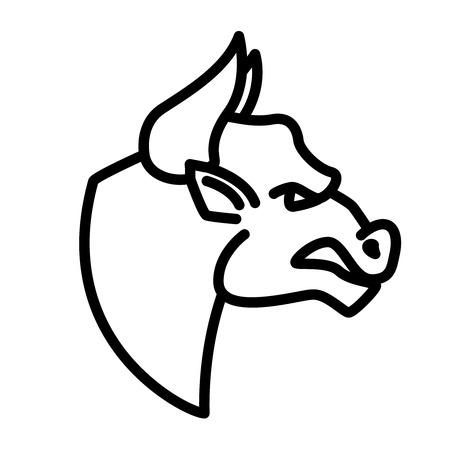 Angry bull icon in line style