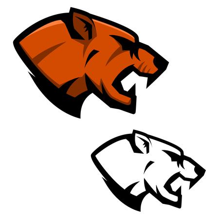 Cougar head. Sport team mascot template. Design element for logo, label, emblem, sign.