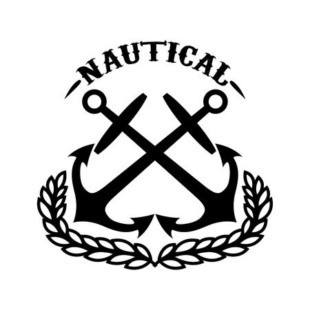 Náutico. Plantilla de emblema con corona y anclajes cruzados. Elemento de diseño para logotipo, etiqueta, emblema, signo. Ilustración vectorial