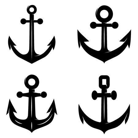 Set of icons of the anchor isolated on white background. Design element for logo, label, emblem, sign. Vector illustration