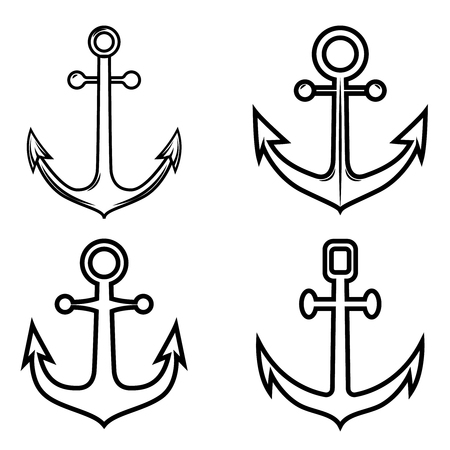 Set of anchor icons. Design element for logo, label ,emblem, sign. Vector illustration