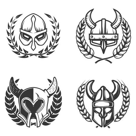 Set of emblems with medieval helmets and wreaths. Design element for logo, label, emblem, sign. Stock Illustratie