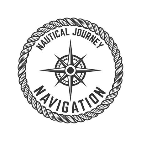 Nautical journey. Emblem with Rose of Wind. Design element for logo, label, emblem, sign, badge. Illustration