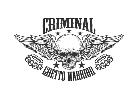 Criminal. Ghetto warrior. Skull with wings and brass knuckles. Design element for logo, label, emblem, sign, badge. Vector illustration Stock Illustratie