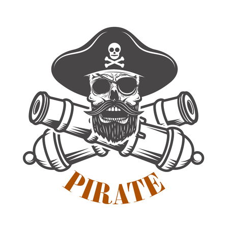 pirates. Emblem template with cannons and pirate skull. Design element for logo, label, emblem, sign. Vector illustration