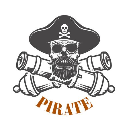 pirati. Modello di emblema con cannoni e teschio pirata. Elemento di design per logo, etichetta, emblema, segno. Illustrazione vettoriale