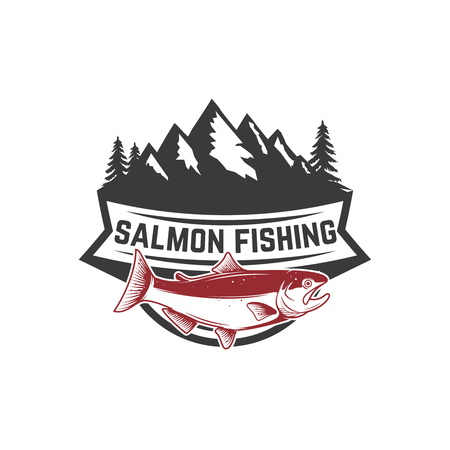 Salmon fishing. Salmon on background with mountains. Design element for logo, label, emblem, sign. Vector illustration