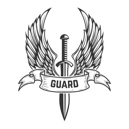 ガード。翼を持つ中世の剣。ロゴ、ラベル、エンブレム、サイン、バッジのデザイン要素。ベクトル図