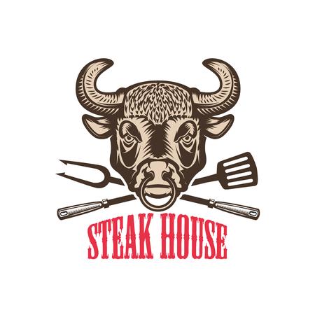 Steak house. Bull head with kitchen tools. Design element for logo, label, emblem, sign.