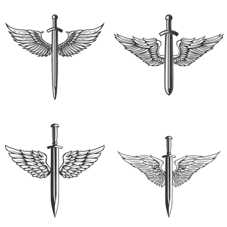 Set of emblems with medieval sword and wings. Design element for logo, label, emblem, sign. Vector illustration