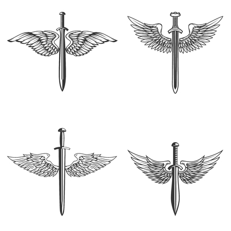 Set of emblems with medieval sword and wings. Design element for logo, label, emblem, sign. Vector illustration Archivio Fotografico - 98820402