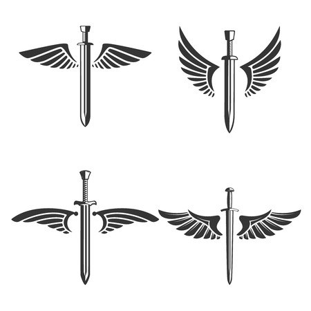 Set of emblems with medieval sword and wings. Design element for logo, label, emblem, sign. Vector illustration Banque d'images - 104628923