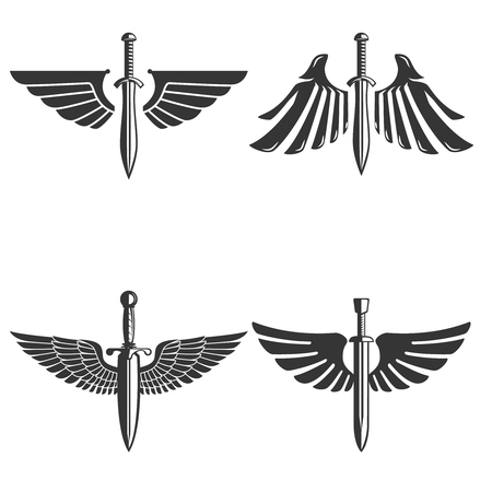 Set of emblems with medieval sword and wings. Design element for logo, label, emblem, sign. Vettoriali