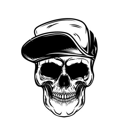 Skull in baseball cap. Design element for poster, emblem, t shirt. Vector illustration