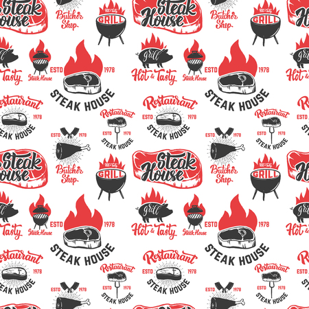 Seamless pattern with steak house symbols. Grill, bbq, fresh meat. Design element for poster, menu, flyer, banner, menu, package.