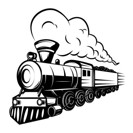 Retro- Zugillustration lokalisiert auf weißem Hintergrund. Gestaltungselement für Logo, Etikett, Emblem, Zeichen. Vektor-illustration