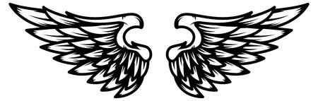 Wings isolated on white background. Design element for logo, label, emblem, sign. Vector illustration Foto de archivo - 104628933