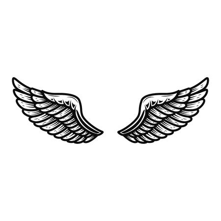 Alas aisladas sobre fondo blanco. Elemento de diseño para logotipo, etiqueta, emblema, signo. Ilustración vectorial
