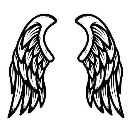 Wings isolated on white background. Design element for logo, label, emblem, sign. Vector illustration
