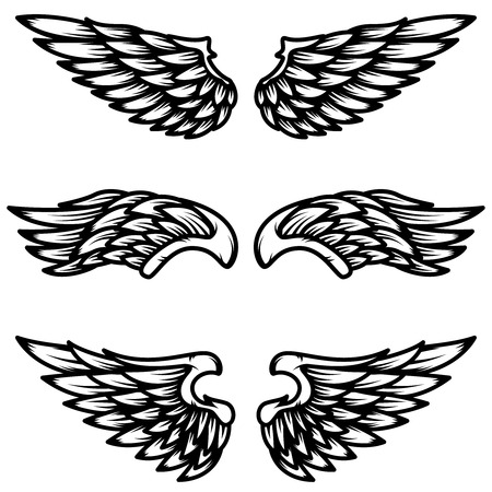 Set of wings isolated on white background. Design element for logo, label, emblem, sign. Vector illustration Stock Illustratie