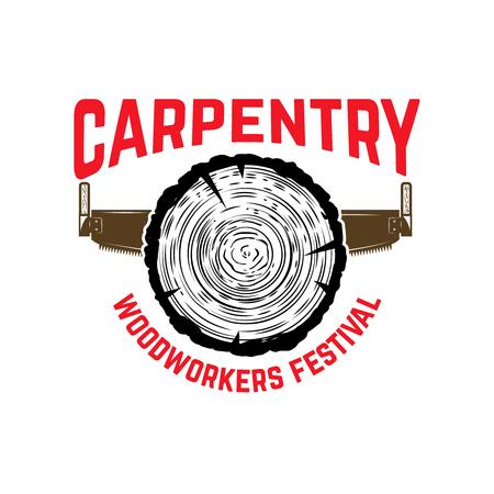 Carpentry. Emblem template with cutting wood and hand saw. Design element for logo, label, emblem, sign. Vector illustration Standard-Bild - 98931984