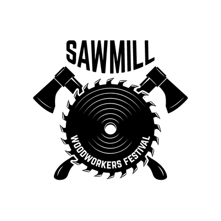 Sawmill. Emblem template with crossed lumberjack axes and saw. Design element for logo, label, emblem, sign. Vector illustration Vettoriali